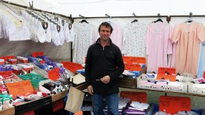 Paul offers a range of night clothes and under garments. He's been coming to Oundle for 10 years.