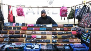 Mark, who sells wallets and bags has been at the Oundle market for 10 months.
