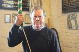 Len Johnson (70) started ringing bells at the Stoke Doyle church where they have 5 bells. He learned to ring the 8 bells at Oundle during the Tuesday practices and has been ringing them regularly for weddings and celebrations since he moved to Oundle in 1992. A familiar figure around town, Len served on the council for 12 years and was mayor in 2004. Every week he pulls the Thursday market bell at noon, a tradition that started centuries ago to launch the weekly livestock market that was held on Station Road. The bell ringing is supported by the Feoffees.