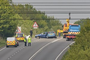EMERGENCY services at the scene of a serious collision on the A605 at Elton, near Peterborough. Two fatalities have been confirmed and two people have suffered serious injuries.