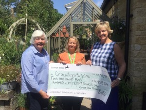 Gardeners Lois Fletcher and Alison Lloyd presented a cheque for £4458 to  Allison Waterhouse (centre) from Cransley Hospice
