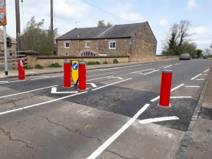 The new bollards were damaged within days of installation.
