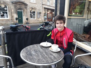 Sam often refuels with cake and coffee at Beans along his 35 mile circuit.
